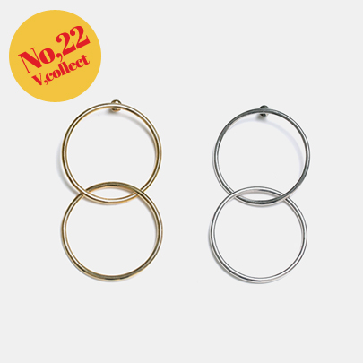 [V,Collect] No,22 Two-Ring Earrings