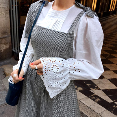 Eyelet Cuffs Blouse