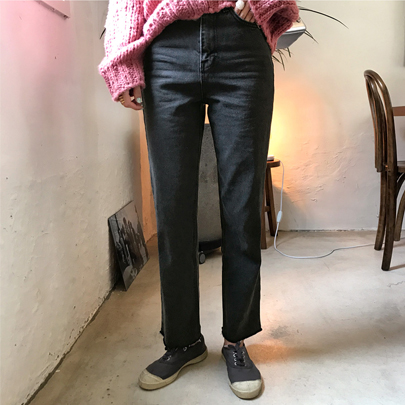 Relaxed Fit Straight Leg Dark Wash Jeans