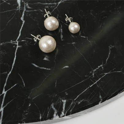 Cotton Pearl Stud Earrings