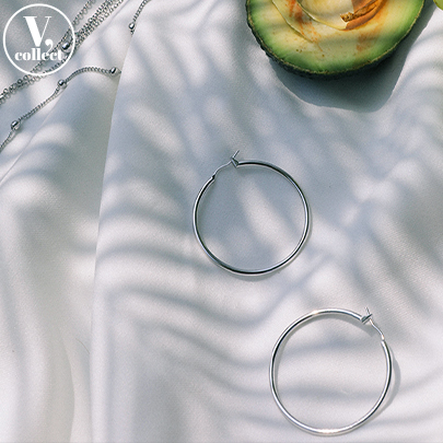 [V,Collect] Silver-Toned Hoop Earrings