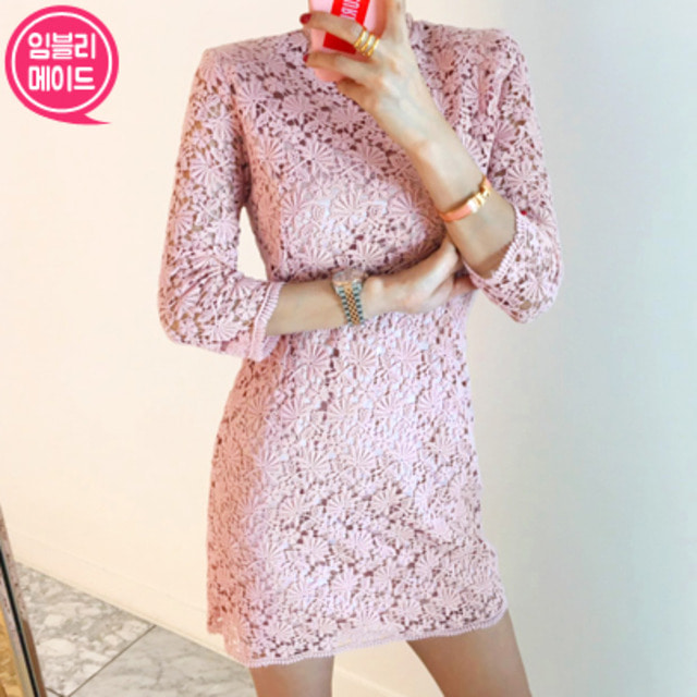 [PREMIUM] Floral Lace Sheath Dress