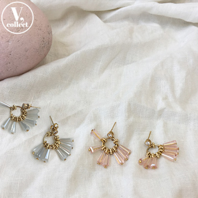 [V,Collect] Crystalline Bead Push-Back Earrings