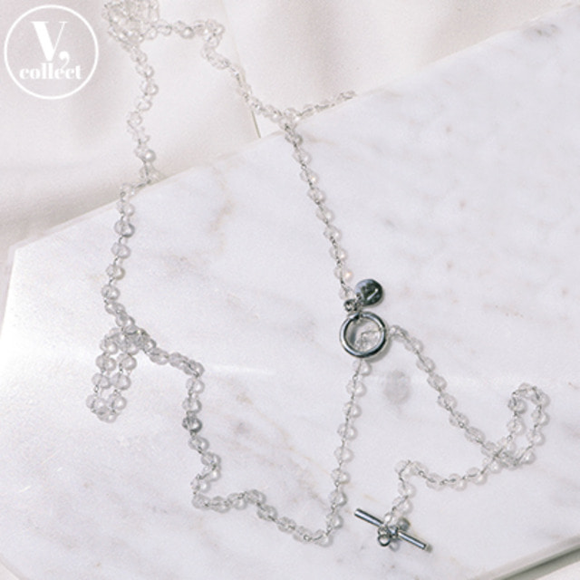 [V,Collect] Clear Bead Toggle Necklace