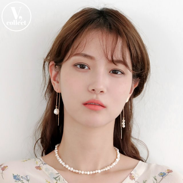[V,Collect] Pearl Accent Linear Earrings