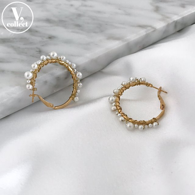 [V,Collect] Pearl Hoop Earrings