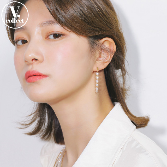 [V,Collect] Drop Push-Back Earrings