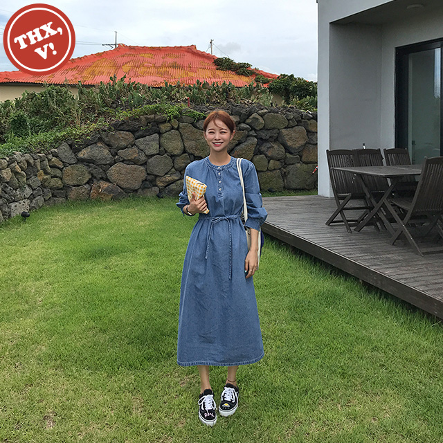 [THX,V] BUTTON DENIM DRESS