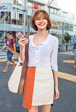 Color Blocked Asymmetric Linen Skirt