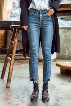 Distressed Cutout Hem Jeans