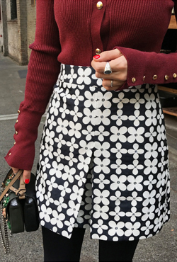 Inverted Pleat Floral Skirt