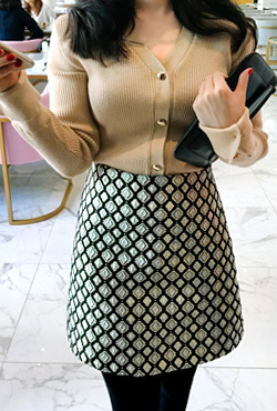 Side Zip Patterned Mini Skirt