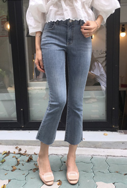 Faded Raw Hem Boot Cut Jeans