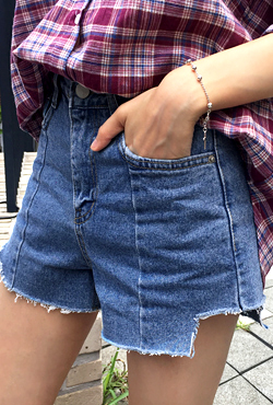 Cutout Hem Denim Shorts